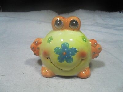 New ~ Ceramic Yellow Big Belly Frog Bank   • 3.85£