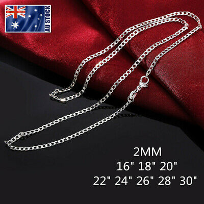 AU4.99 • Buy Wholesale 925 Sterling Silver Filled 2mm Classic Curb Chain Necklace For Pendant