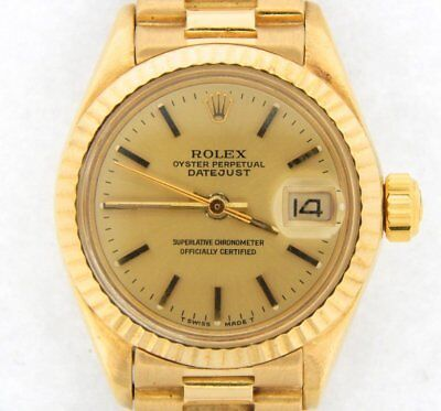 $ CDN8397.72 • Buy Lady Rolex Solid 18K Yellow Gold Datejust President Watch W/Champagne Dial 6917