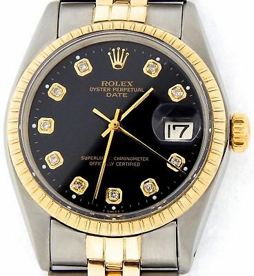 $4640.98 • Buy Rolex Date 1505 Mens Stainless Steel Yellow Gold Watch Black Diamond Dial
