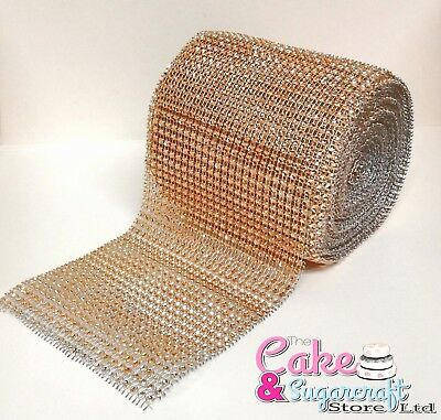 Rose Gold Diamante Rhinestones Effect Ribbon 2 Mtrs Trim Wedding Cakes Sewing • 2.90£