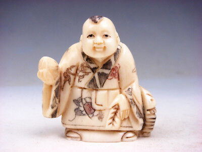 £101.40 • Buy Japanese Highly Detailed Hand Crafted Netsuke Boy Holds Peach Basket #10291805