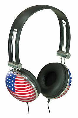 Stereo Head-phones Retro Style Stars And Stripes Cup Ideal IPod MP3  • 6.49£