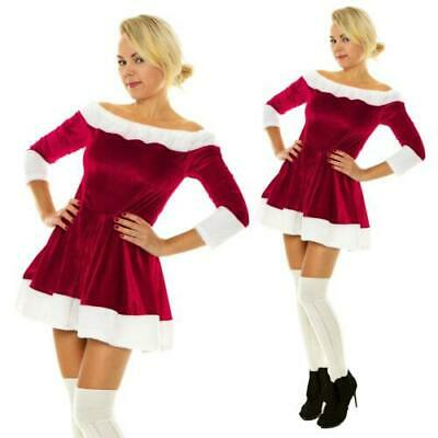 £13.99 • Buy Christmas Sexy Santa Claus Fur Boat Neck Costume Xmas Outfit Fancy Dress Womens