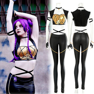 $ CDN43.52 • Buy Game LOL KDA Kaisa Cosplay Outfit Leather Punk Uniform Costume