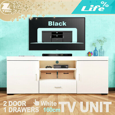 AU179.95 • Buy 160cm TV Unit Stand Entertainment Side Cabinet Storage Drawers 2doors White Blac