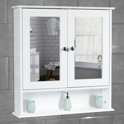 White Bathroom Wall Cabinet Storage Cupboard With Mirror Wooden Shelves • 28.95£