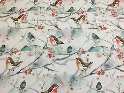 VOYAGE-SNOWY SONG Xmas Robin Cotton Fabric,Upholstery/Curtains/Cushions/Crafts • 9.50£