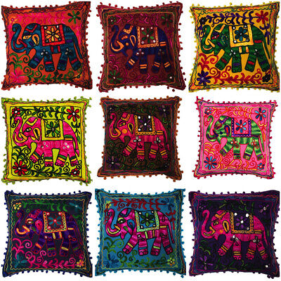 Indian Bohemian Elephant Mirror Cushion Covers Embroidered Mirror Pom Pom 40 Cms • 3.99£