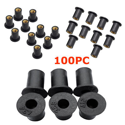 $19.79 • Buy 100XUniversal M5Rubber Brass Well Nuts Accessories Fit Motorcycle ATV Windscreen
