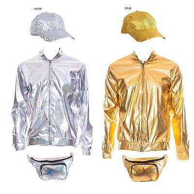 AU33.85 • Buy 80s 90s Metallic RAVE Bomber Jacket Gold Silver Festival Fancy Dress Cap Bumbag