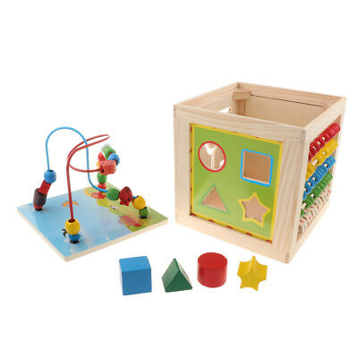 Activity Cube Toys Baby Wooden Bead Maze Shape Sorter For 1 Year Old Kids • 23.89£
