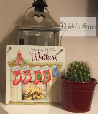 Christmas Stocking Wooden Plaque, Handmade, Gift, Personalised,Xmas,Home, • 6.99£