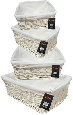 White Wicker Willow Storage Baskets W Lining Easter Gift Make Your Own Hamper  • 11.99£