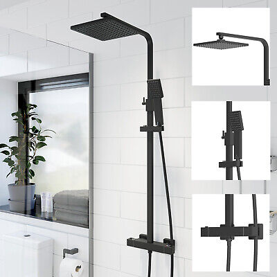 Bathroom Thermostatic Mixer Shower Set Square Black Twin Head Exposed Valve • 129.99£