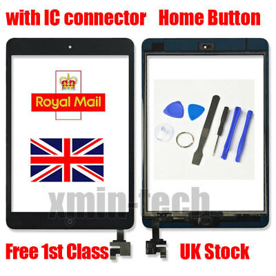 £8.99 • Buy For Black IPad Mini 1/2 Touch Glass Digitizer Screen Replacement +IC Home Button