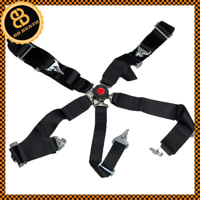 Black 5 Point Car Racing Harness Quick Release Latch Clip Fitting + Eye Bolts  • 40.76£