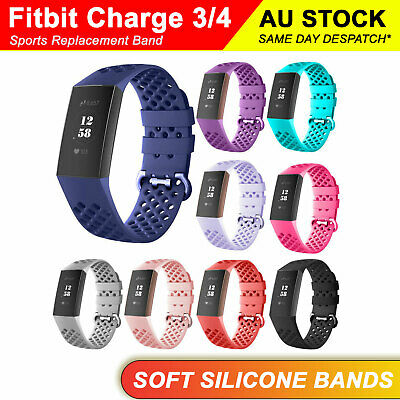 AU5.80 • Buy Fitbit Charge 3 4 Watch Soft Silicone Sports Replacement Band Wrist Strap AU