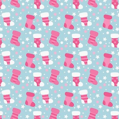 £2.95 • Buy Printed Bow Fabric A4 Christmas Sock Stocking Pink CM25 Make Glitter Bows
