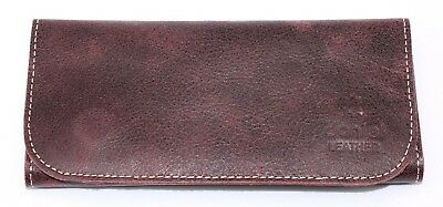 Soft Genuine Smoke Tobacco Pocket Pouch Case Real Vintage Purple Leather New • 11.99£