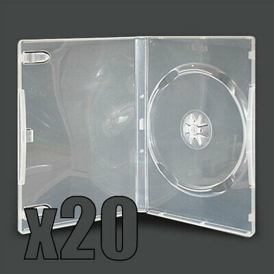 £2.49 • Buy 20 X Clear Single DVD Cases Holder - 14mm Spine  CD DVD Bluray Empty - USED