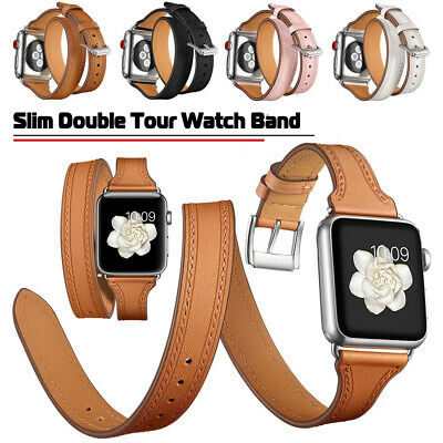AU23.86 • Buy 40/44mm Slim Leather Band Women Double Tour Strap For Apple Watch Series 6 5 4 3