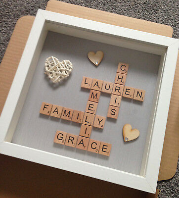 Personalised Family Scrabble Letter Box Frame Picture Mother Day Present Mum Dad • 19.99£