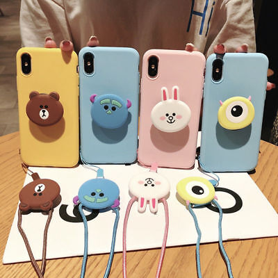 AU10.30 • Buy For IPhone 12 11 Pro XS Max 6 7 8 Cute Bear Rabbit Strap Stand Holder Phone Case
