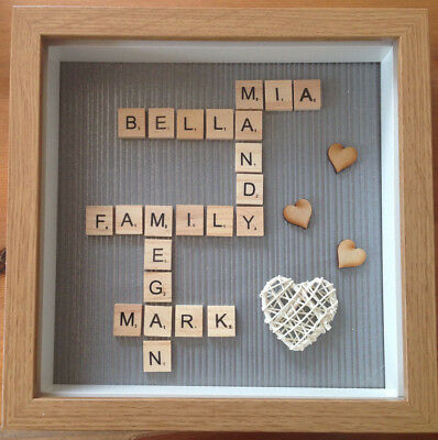 Personalised Family Scrabble Letter Box Frame Picture Mothers Day Present Mum • 21.99£