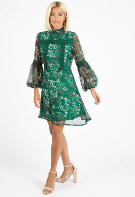 £14.99 • Buy Womens Green Floral High Ruffle Neck Mini Going Out Dress