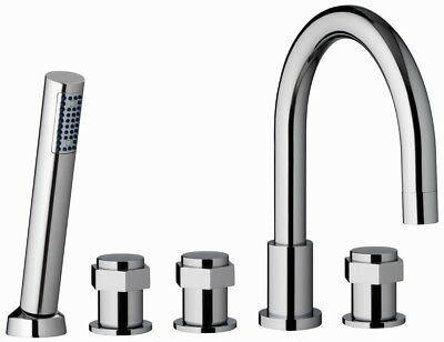 Five Hole Bath Shower Mixer Tap Chrome Solid Brass Low Pressure B605 UK Company • 125.99£
