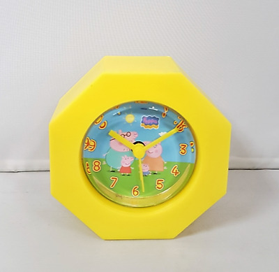 £4.95 • Buy Childs Peppa Pig Plastic Yellow Family Alarm Clock Kids Bedroom George Dial Time
