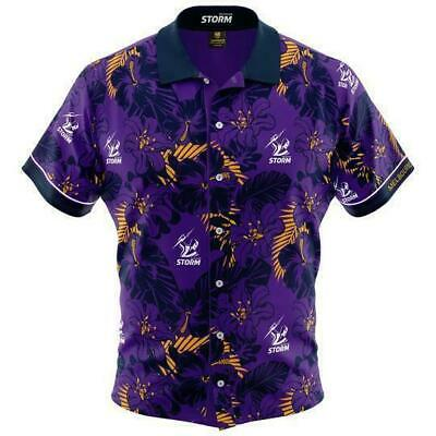 £34.42 • Buy Melbourne Storm NRL 2019 Hawaiian Button Up Polo T Shirt Sizes S-5XL!