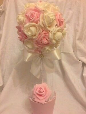 Lovely Ivory And Pink Topiary Tree, Wedding Decoration, Table Centrepiece, Gift • 24.99£
