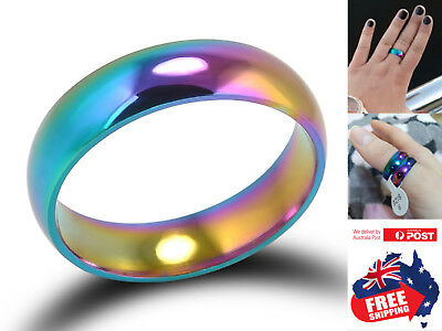 AU5.45 • Buy Titanium Stainless Colorful 6mm Brushed Center Men Women Wedding Band Ring 1pc