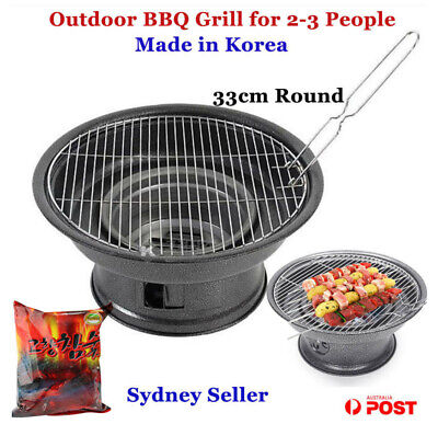AU47.50 • Buy Portable Charcoal BBQ Grill Round 2-3 People Outdoor Camping Made In Korea