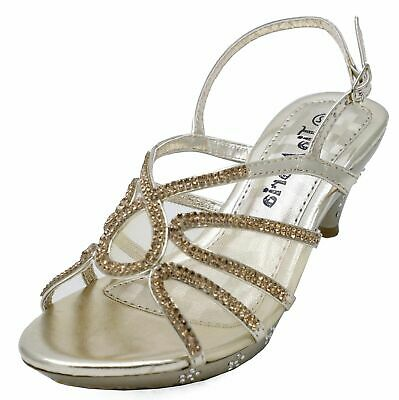 £10.99 • Buy Girls Childrens Gold Dress-up Diamante Low-heel Sandals Party Shoes Sizes 10-2