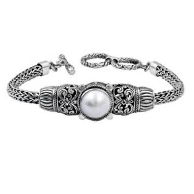 $181.86 • Buy Sterling Silver Bracelet With Mabe Pearl AB-1020-PE