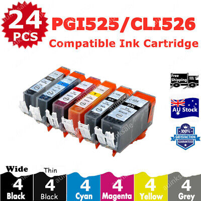 AU23.70 • Buy 24x Non-OEM Ink Cartridge PGI525 CLI526 + Grey For Canon PIXMA MG6150 MG6250
