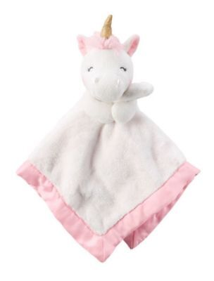 NWT Carter's Unicorn Security Blanket White Pink Gold Horn Baby Girl Lovey NEW • 9.45£