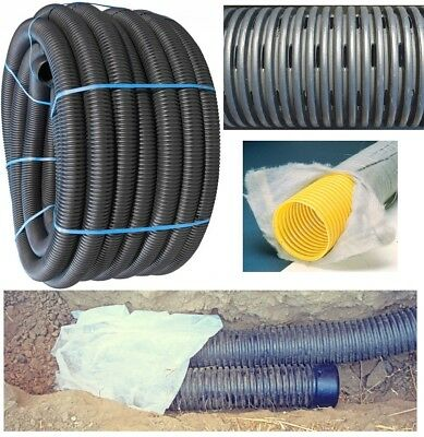 £11.09 • Buy 60mm/80mm/100mm/160mm X 25m/50m/100m Land French Drainage Perforated Pipe Tree