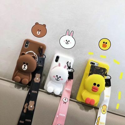 AU12.94 • Buy For IPhone 12 11 Pro XS Max 7 8 Cute Cony Brown Bear Coin Purse Strap Phone Case