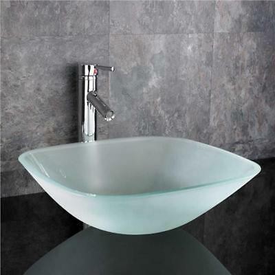 Countertop Glass Basin Bathroom Sink Small Frosted Square Cloakroom 310mm MONZA • 157£