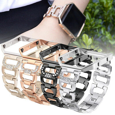AU22.59 • Buy Bling Stainless Steel Metal Watch Genuine Strap Band + Frame For Fitbit Blaze