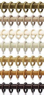 6 X Integra Woodworks Wooden Curtain Rings 7 Colours For 28mm Diameter Poles • 4.99£
