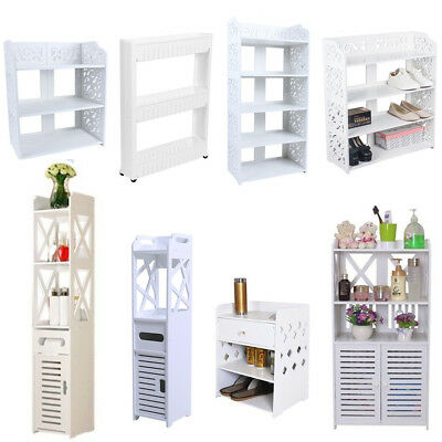 White Bathroom Furniture Floor Cabinet Toilet Hallway Storage Corner Unit Shelf • 31.99£