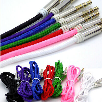 1m Strong Braided 3.5mm Jack To Jack Stereo Plug Aux Audio Auxiliary Cable Lead • 1.95£