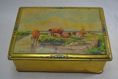 VINTAGE 1920s Large Confectionary Sweet Tin With Cows  Evantide After J. Tennant • 12£
