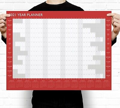 2021 Year Wall Planner ~ Yearly Annual Calendar Chart A2 Size Large • 3.49£