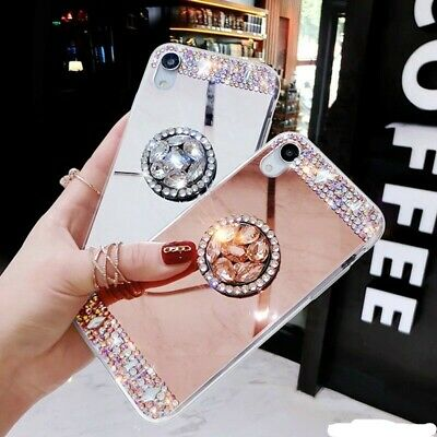 AU11.24 • Buy Bling Glitter Sparkle Diamond Mirror Phone Case With Ring Finger Stand Holder